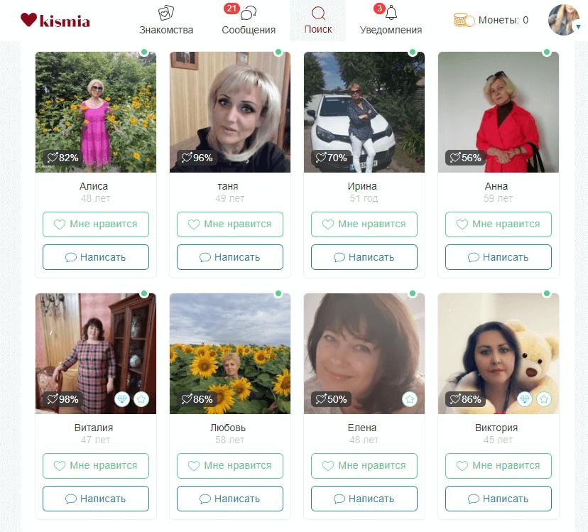 Поиск отношений на сайте Kismia.com